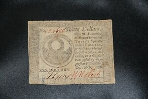 1778 United States $30 Thirty Dollars Continental Currency Note, Hall & Sellers