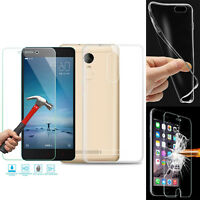 Soft Clear TPU Case Cover & Tempered Glass Screen Protector for Various Phones