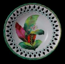 "CHUBU CHINA OCCUPIED JAPAN 8"" RETICULATED PORCELAIN BOWL Hand Painted Leaves"