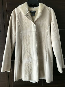 Barrage Authentic Faux Shearling Women's Coat Embroidered Fur Hood Medium
