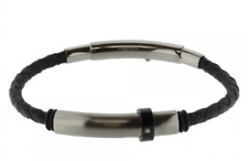 Bracelet STORCH SCHMUCK Made IN Germany Leather Black Stainless Steel Zirconia