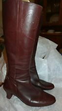 CAMPER KNEE BOOTS CHERRY BROWN TOOLED LEATHER SIZE 40 7 6.5