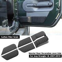 Carbon Fiber Interior Door Cover Trim Decoration for Jeep wrangler JK 2007-2010