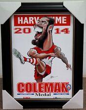 LANCE BUDDY FRANKLIN SYDNEY 2014 COLEMAN MEDALIST AFL HARV TIME PRINT FRAMED
