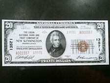 New listing 1929 $20 Logan Nat'L Bank And Trust Co Of New Kensington Pa National Note! #1