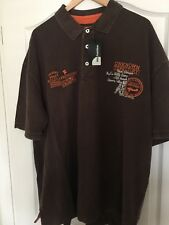 TWO BIG FASHION POLO SHIRTS 4XL100% COTTON , DISTRESSED BROWN , TWO FOR £10.00