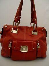 B MAKOWSKY Red Pebble Grain Genuine Leather PURSE Handbag Designer Bag