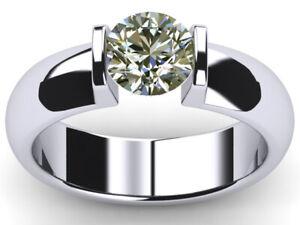 2.04 Ct Vvs1>Round Near White Real Moissanite Diamond Solitaire 925 Silver Ring