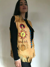 Vintage Deerskin Indian Painted Fringe Vest Jacket Tregos Western Boho Women
