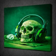 GREEN SKULL HEADPHONE GRUNGE CANVAS PICTURE PRINT WALL ART FREE FAST UK DELIVERY