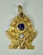 Vintage 10K Yellow Gold Diamond LIONS INTERNATIONAL Pendant Charm Governor