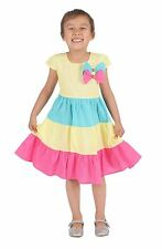 Cinda Girls Yellow Blue and Hot Pink Three Coloured Party Dress 4 5 6 7 8 Years