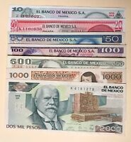 Mexico 10 20 50 100 500 1000 2000 Pesos 1970s-1980s (7 Pcs Set) Mexican bills