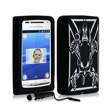 étui coque en silicone pour Sony Ericsson Xperia X8 tête de mort noir + t