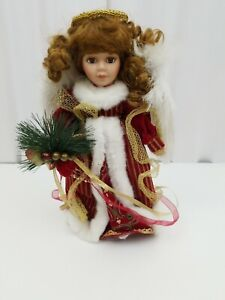 """Girl Doll Porcelain Christmas Angel Holly Red Gown Dress 14"""" Tall Halo Wings"""