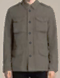 Stitches of London 4 Pocket Jacket Mens Grey Button Up Collar Size Small *REF64