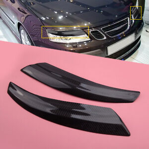Carbon Fiber Front Headlight Eyebrow Eyelid Cover Fit for Saab 9-3 2002-2006