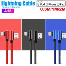 90 Degree Right Angle USB Charger lightning Cable Apple iPhone iPod iPad