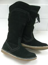 Ladies EVIE black real suede knee high BOOTS size UK 5 W 38 flats snow winter