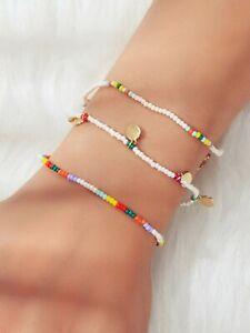 3pcs Bohemian Handmade Disc Charm Colorful Seed Beads Bracelet Ethnic Jewellery