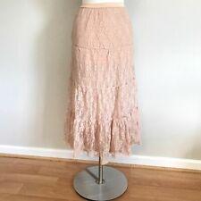 F21 Metallic Nude Blush Floral Tiered Lace Boho Maxi Skirt Size XS