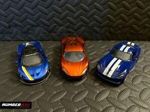 3x Kinsmart Mclaren SRT Dodge Viper Jada Toys Lamborghini Huracan Diecast 1/36