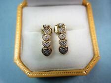 Vintage 9ct GOLD & DIAMOND 'HEART DESIGN'  EARRINGS!