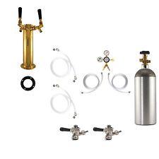 Double Tap Brass Tower Kegerator Conversion Kit - US Sankey w/ CO2 - Draft Beer