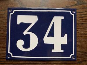 "large enamel #34 house address number enamel blue & white MADE IN ENGLAND 6 x 8"""