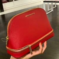 Michael kors  Medium Large Travel Pouch Leather Cosmetic Makeup Bag SCARLET Red