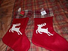 Christmas Stocking Holiday Decor Reindeer Pair Set of 2 Red Plaid Tree New Tags