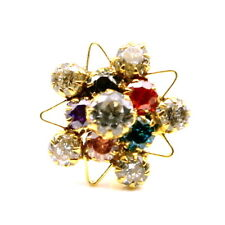 Real Gold Nose stud 14K Ethnic Floral Multicolor CZ Indian nose ring Push Pin