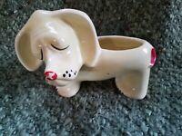 Vintage Morton? Sad Hound Dog Yellow Pottery Planter So Cute!