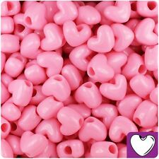 50 x Baby Pink Opaque 12mm Heart Shape Pony Beads Quality Pony Beads *3 for 2*
