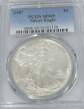 1987 American Silver Eagle $1 Dollar Proof PCGS MS69 Tough Date 2nd Year36381138