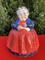 Vintage Grandma & Kitchen Spoon Granny Cookie Jar OOAK Handpainted 10/9 ❤️sj5m1s