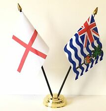 England & Indian Ocean Territories Double Friendship Table Flag Set