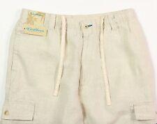 Men's CARIBBEAN Natural Light Khaki LINEN Drawstring Pants 36x32 NEW NWT Cargo