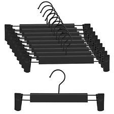 "10Pack 12"" Black Plastic Hangers Clothes Pants Heavy Duty Non Slip Metal Hangers"