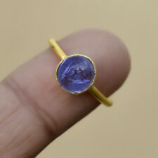 Round Cab Violet Blue Tanzanite Gems 925 Sterling Silver Birthstone Ring Size 8