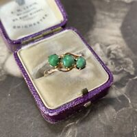 Art Deco 9ct Gold Jade Ring, Antique Dates 1917 Cabochon Trilogy Band UK M 1/2