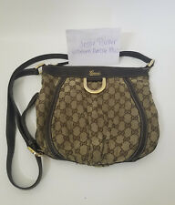 Authentic Gucci GG Monogram D Ring Messenger Bag Crossbody Purse Brown Beige Tan