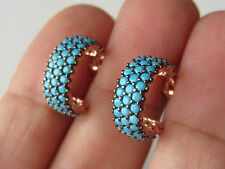 UNIQUE TURKISH ROSE GOLD PLATED TURQUOISE 925K STERLING SILVER EARRINGS HANDMADE