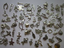100 Small / Dainty -Mixed Tibetan Antique Silver charms
