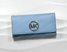 Michael Kors Women's Large Bifold Wallet Fulton Carry Leather Sky Blue