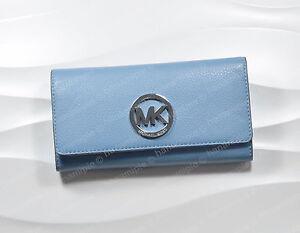 Michael Kors Fulton Women's Continental Bifold Leather Wallet Organizer Sky NEW