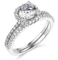 2.70 Ct Round Cut Engagement Wedding Ring Set Real 14K White Gold Matching Band