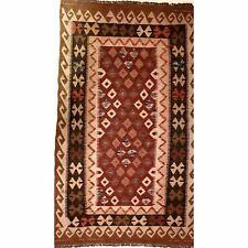 Vintage Mid-Century Geometric Burgundy Kilim Flat-Woven Area Rug Wool Carpet EX+