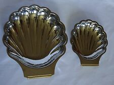 NEW INOXBECK STAINLESS STEEL 2pc GOLD ACCENT SHELL FOOD TRAY ~ NO BOX ~ ITALY JL