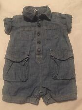Baby Gap Boys Romper Outfit Size 3-6 Months Denim Blue